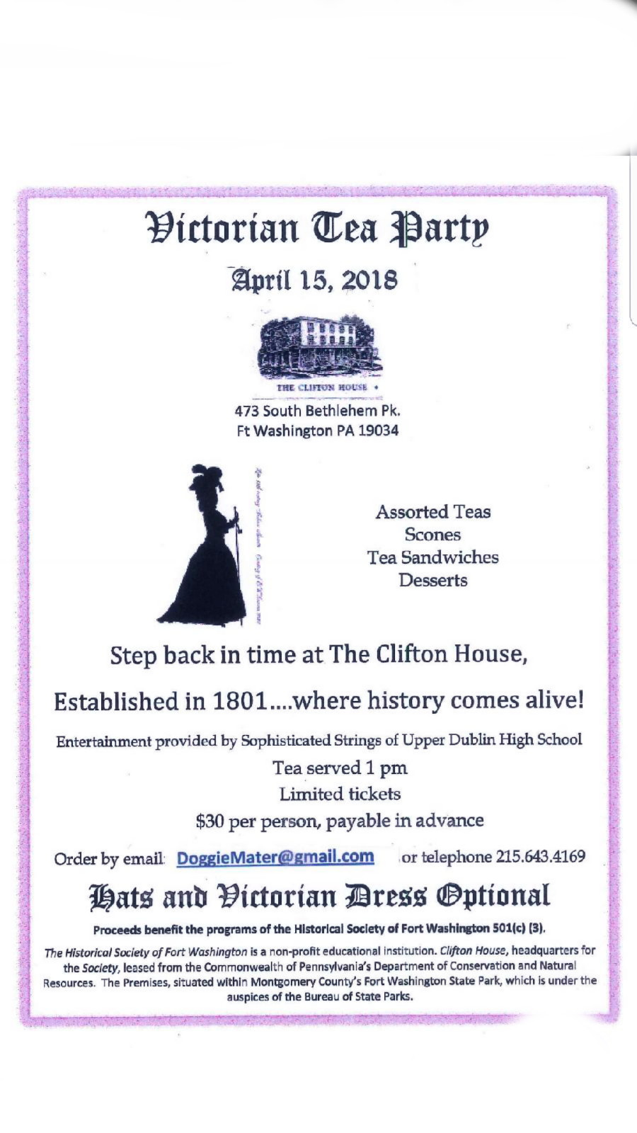 Victorian Tea Party April 15, 2018 @ Clifton House Ft Washington, PA ...